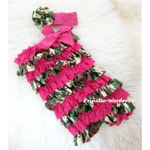 Camouflage Hot Pink Chiffon Romper with Hot Pink Bow with Headband Set RH78