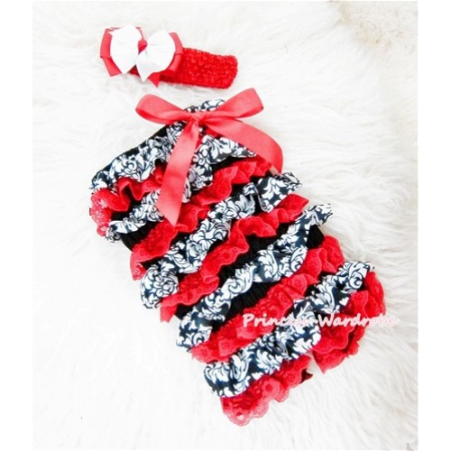 Damask Red Chiffon Romper with Red Bow with Headband Set RH80