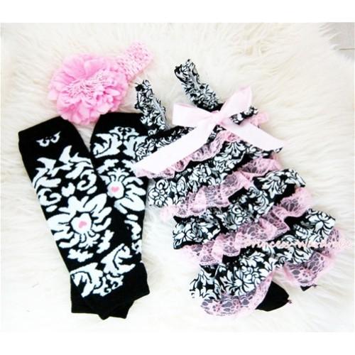 Damask Light Pink Layer Chiffon Romper and Leg Warmer with Light Pink Bow & Straps with Headband Set RH84