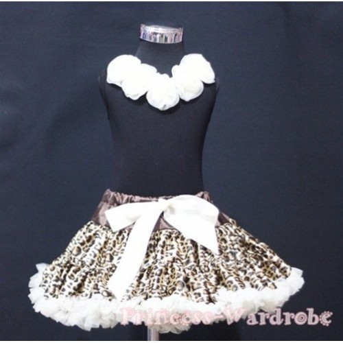Black Tank Tops with Cream White Rosettes & Cream White Leopard Pettiskirt MW65