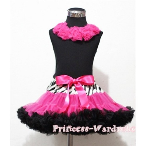 Black Tank Tops with Hot Pink Rosettes & Zebra Waist Hot Pink Black Full Pettiskirt MW34