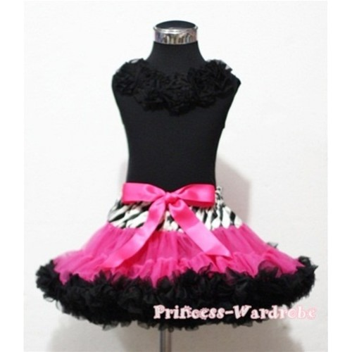 Black Tank Tops with Black Rosettes & Zebra Waist Hot Pink Black Full Pettiskirt MW35