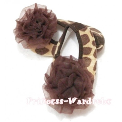 Baby Giraffe Crib Shoes with Brown Rosettes S68