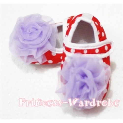 Baby Red White Poika Dot Crib Shoes with Light Purple Rosettes S81