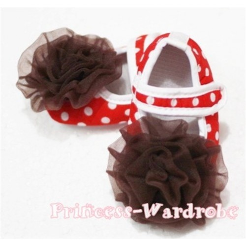 Baby Red White Poika Dot Crib Shoes with Brown Rosettes S84