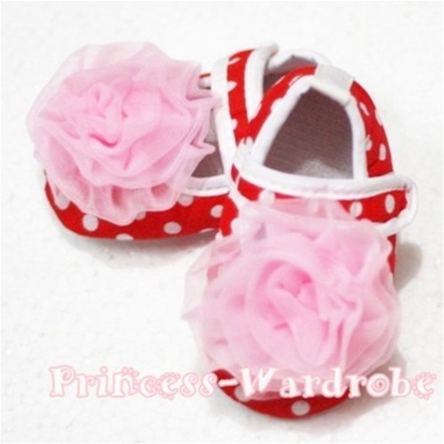 Baby Red White Poika Dot Crib Shoes with Light Pink Rosettes S85