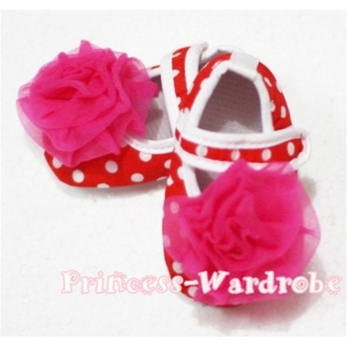 Baby Red White Poika Dot Crib Shoes with Hot Pink Rosettes S86