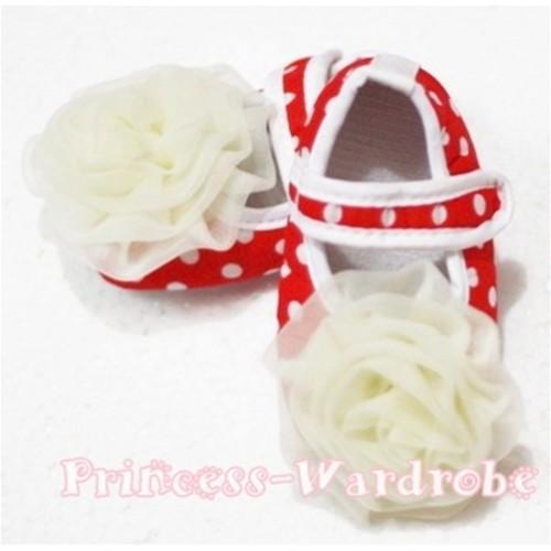 Baby Black White Poika Dot Crib Shoes with Cream White Rosettes S87