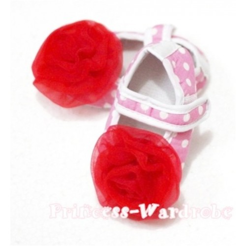 Baby Light Pink White Poika Dot Crib Shoes with Red Rosettes S89