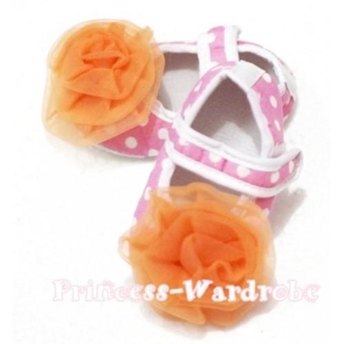 Baby Light Pink White Poika Dot Crib Shoes with Orange Rosettes S90