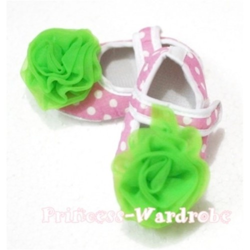 Baby Light Pink White Poika Dot Crib Shoes with Dark Green Rosettes S93