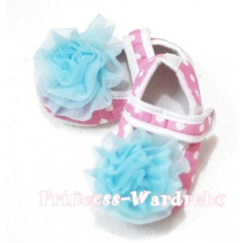 Baby Light Pink White Poika Dot Crib Shoes with Light Blue Rosettes S94