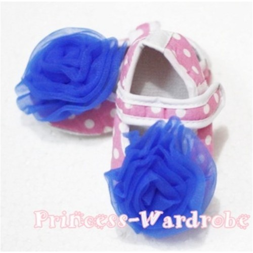 Baby Light Pink White Poika Dot Crib Shoes with Royal Blue Rosettes S95