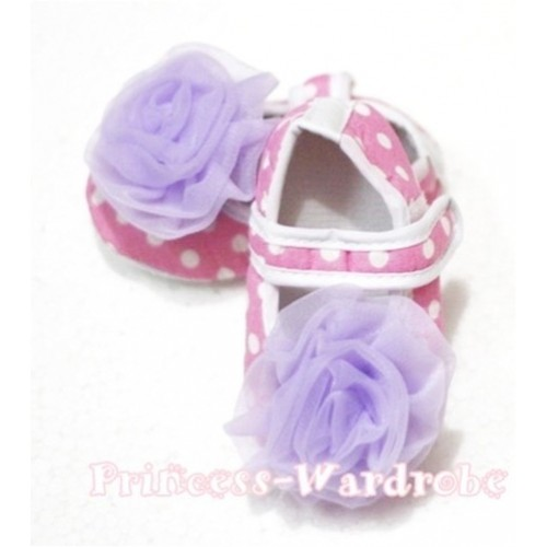 Baby Light Pink White Poika Dot Crib Shoes with Light Purple Rosettes S97