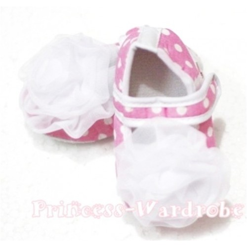 Baby Light Pink White Poika Dot Crib Shoes with White Rosettes S99