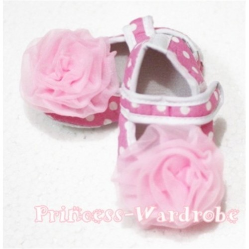 Baby Light Pink White Polka Dot Crib Shoes with Light Pink Rosettes S101