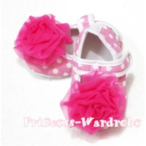 Baby Light Pink White Polka Dot Crib Shoes with Hot Pink Rosettes S102