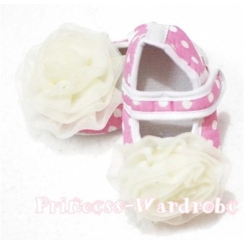 Baby Light Pink White Polka Dot Crib Shoes with Cream White Rosettes S103