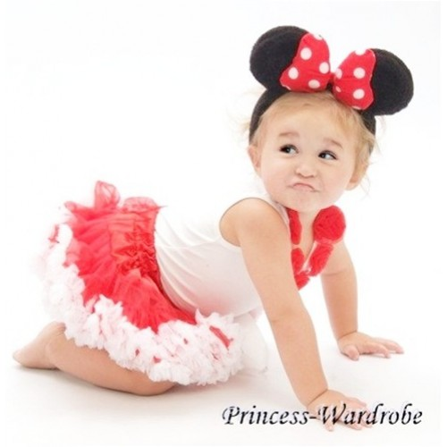 Red White Pettiskirt with Matching Tank Top with Red Rosettes and Minnie Headband