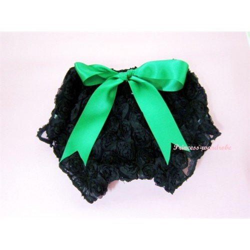 Black Romantic Rose Panties Bloomers With Green Bow BR02