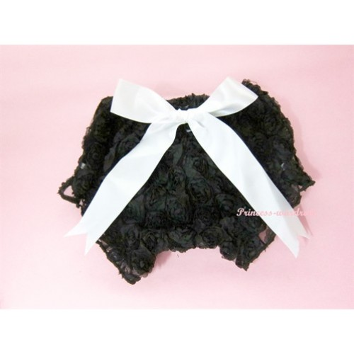 Black Romantic Rose Panties Bloomers With White Bow BR04