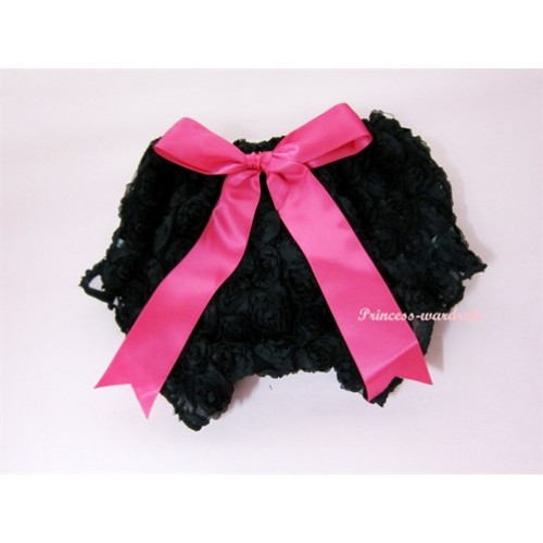 Black Romantic Rose Panties Bloomers With Hot Pink Bow BR05