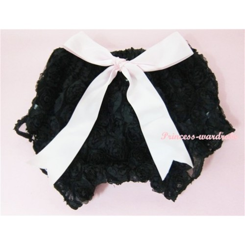 Black Romantic Rose Panties Bloomers With Light Pink Bow BR06