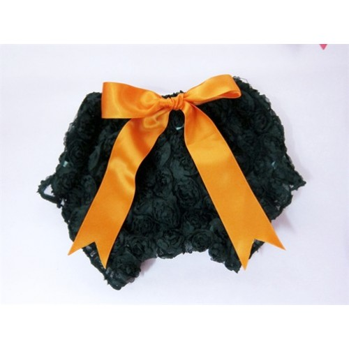 Black Romantic Rose Panties Bloomers With Orange Bow BR08