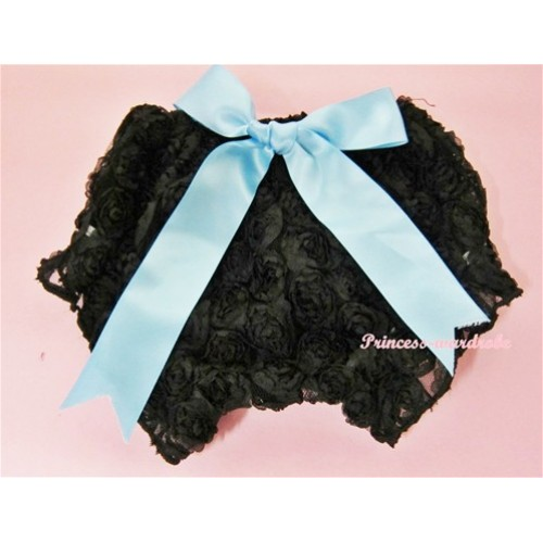 Black Romantic Rose Panties Bloomers With Light Blue Bow BR10