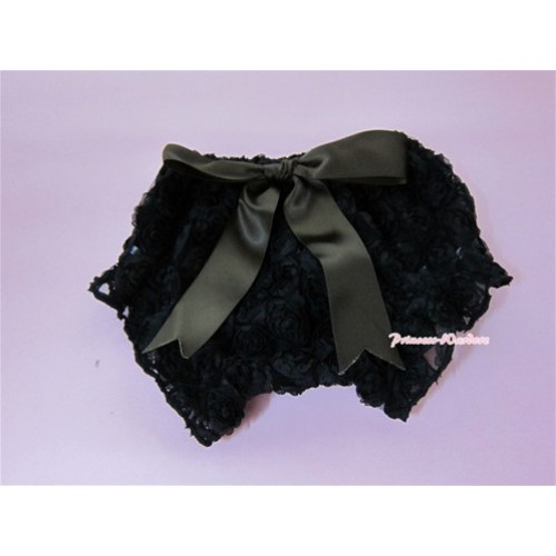 Black Romantic Rose Panties Bloomers With Brown Bow BR12