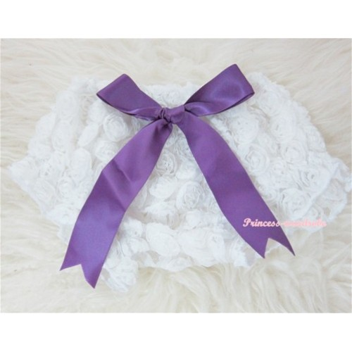 White Romantic Rose Panties Bloomers With Dark Purple Bow BR18