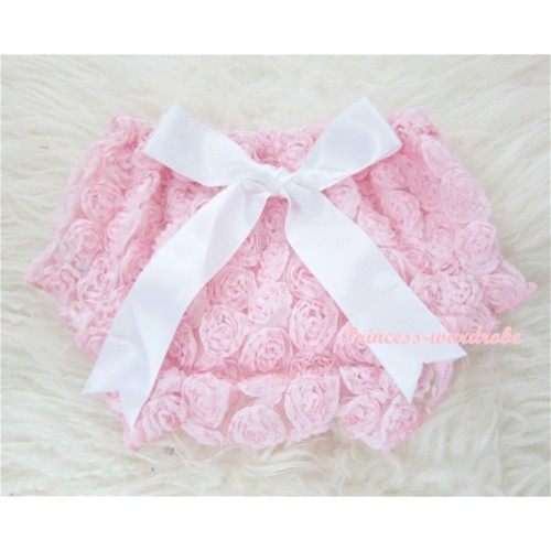 Light Pink Romantic Rose Panties Bloomers With White Bow BR26