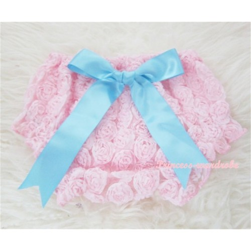 Light Pink Romantic Rose Panties Bloomers With Light Blue Bow BR29