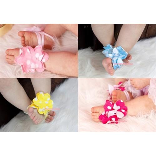 Pattern Print Baby Toddler Barefoot Blooms Ring Sandals S416