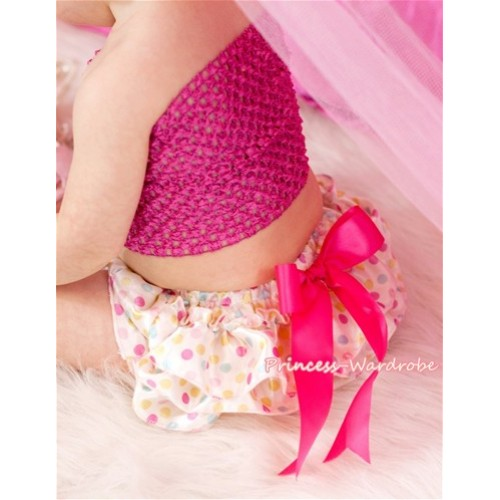 Hot Pink Peony and Crochet Tube Top, Hot Pink Headband and Bow, White Rainbow Polka Dots Panties Bloomers 3PC Set CT298