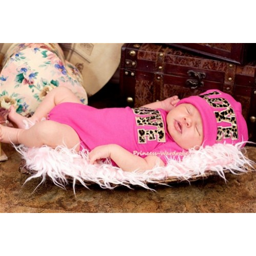 Hot Pink Baby Jumpsuit with Leopard Love Print with Cap Set JP02
