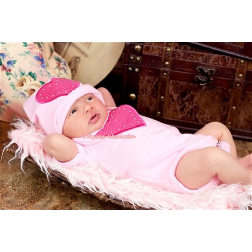 Light Pink Baby Jumpsuit with Hot Pink Heart Print with Cap Set JP03