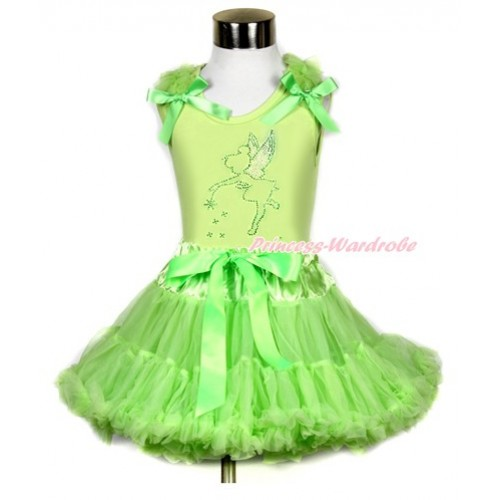 Light Green Tank Top with Sparkle Crystal Bling Tinker Bell Print with Light Green Ruffles & Light Green Bow & Light Green Pettiskirt MH114