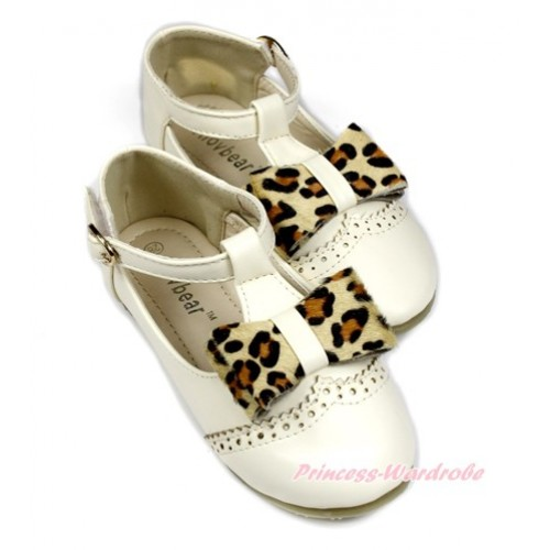 Ivory Cream White Beige Leopard T Strap Flat Deck Boat Girl Shoes S01-5Beige