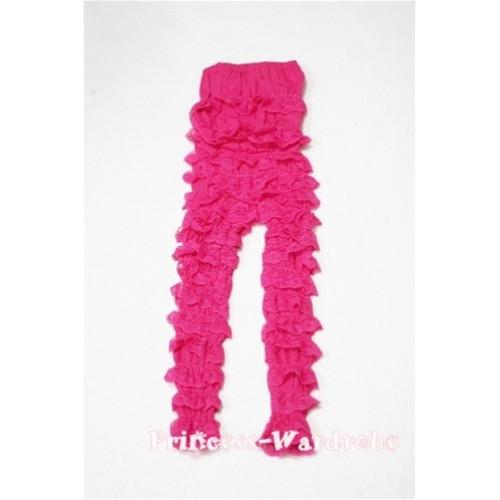 Long Sleeve Hot Pink Lace Ruffles Petti Romper LR28