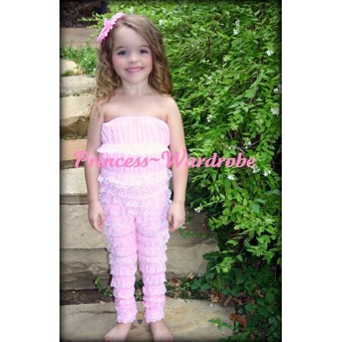 Long Sleeve Light Pink Lace Ruffles Petti Romper LR30