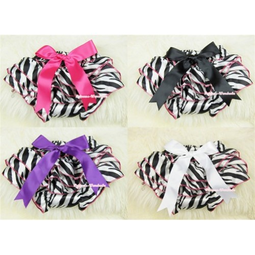 Hot Pink Zebra Print Panties Bloomers with Cute Big Bow BC121