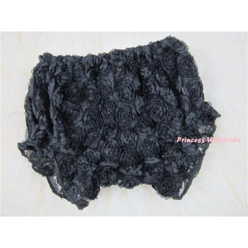 Black Romantic Rose Panties Bloomers BR01
