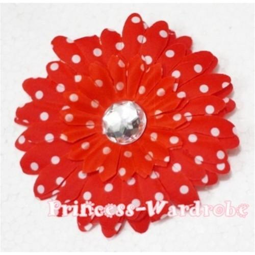 Red White Polka Dot Crystal Daisy Hair Pin H164