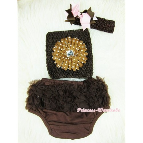 Brown Layer Panties Bloomers with Brown White Dolka Dots Flower Brown Crochet Tube Top and Brown Light Pink Bow Brown Headband 3PC Set CT362