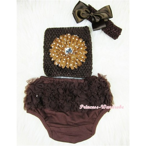 Brown Layer Panties Bloomers with Brown White Dolka Dots Flower Brown Crochet Tube Top and Brown Bow Brown Headband 3PC Set CT363