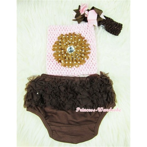 Brown Layer Panties Bloomers with Brown White Dolka Dots Flower Light Pink Crochet Tube Top and Brown Light Pink Bow Brown Headband 3PC Set CT365