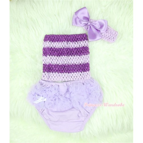 Light Purple Layer Panties Bloomers with Dark Purple Lavender Crochet Tube Top and Lavender Bow Lavender Headband 3PC Set CT366