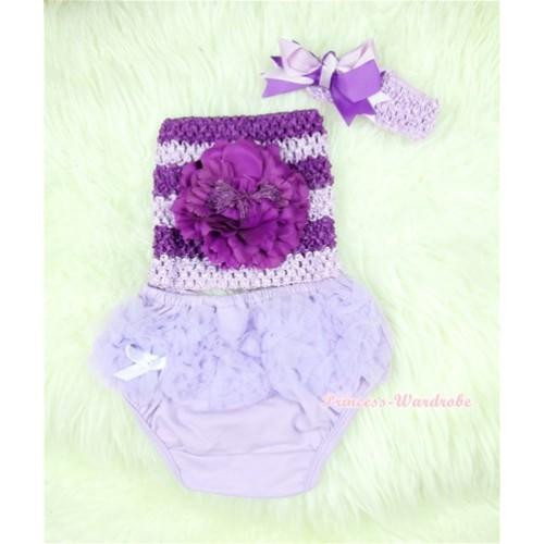 Light Purple Layer Panties Bloomers with Dark Purple Peony Dark Purple Lavender Crochet Tube Top and Dark Purple Lavender Bow Lavender Headband 3PC Set CT368