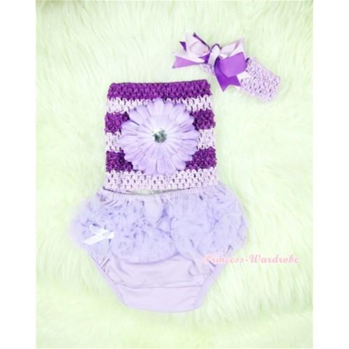 Light Purple Layer Panties Bloomers with Dark Purple Flower Dark Purple Lavender Crochet Tube Top and Dark Purple Lavender Bow Lavender Headband 3PC Set CT369